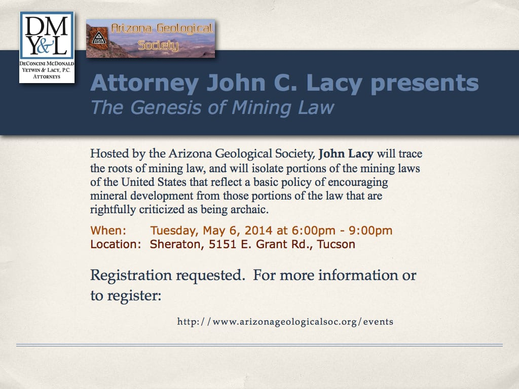 Attorney John Lacy Presents on May 6